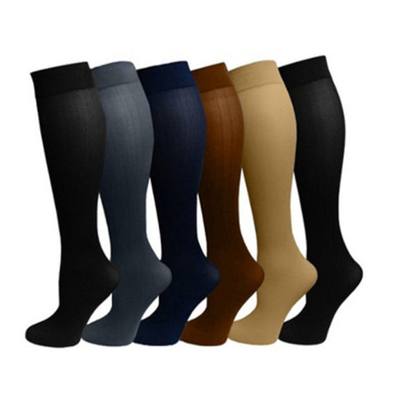 Pack of 3 Solid Color Compression SKnee High Socks Long Knit Nylon Stockings 15-20 Mmhg
