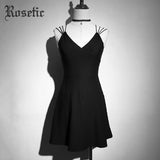 Rosetic Gothic Black Dress Women Summer Sleeveless Mini Party Dresses
