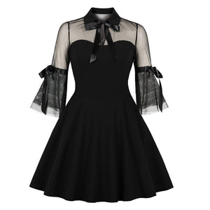 Rosetic Women Gothic Lace Dress Party Vintage Sexy See Through Elegant Bow Black
