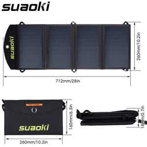 Suaoki Portable 25W Folding Foldable Waterproof Solar Panel Charger Mobile Power Bank