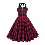 Women Red Plaid Summer Vintage Sexy Short Dress Rockabilly Lace-Up Halter Zipper