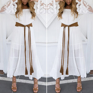 Women Summer Boho Long Maxi Dress Off Shoulder Slash Neck Long Sleeve