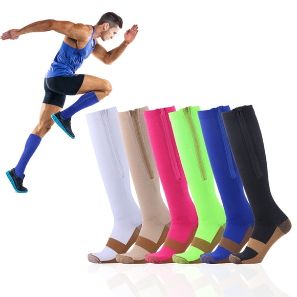 Zipper Medical Compression Socks With Open Best Support Zipper Stocks for Varicose Veins, Edema, Swollen or Sore Legs,
