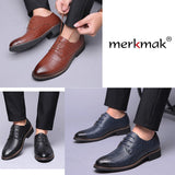 merkmak 2018 Fashion Pointed Toe Dress Shoes Men Loafers Matte Leather Oxford