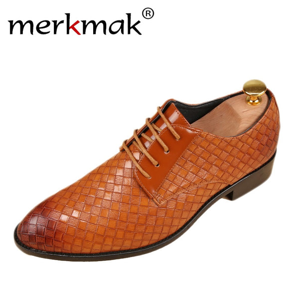 merkmak Leather Shoes Men Bussines Leather Casual Shoes Fashion Lace Up