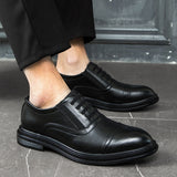 merkmak Luxury Brand Leather Concise Men Business Dress Fashion Black Shoe