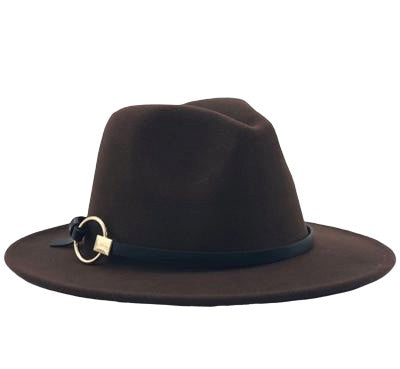 Fedora Hat with leather strap and metal ring