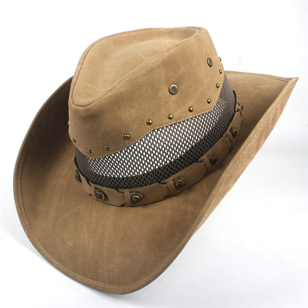 Lether Cowboy Hat Rodeo Stile with breathing net.
