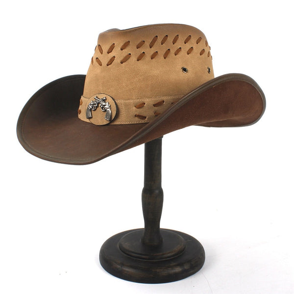 Lether Cowboy Hat Rodeo Style with guns