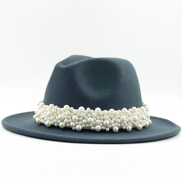 Wool Fedora Hat With Pearl