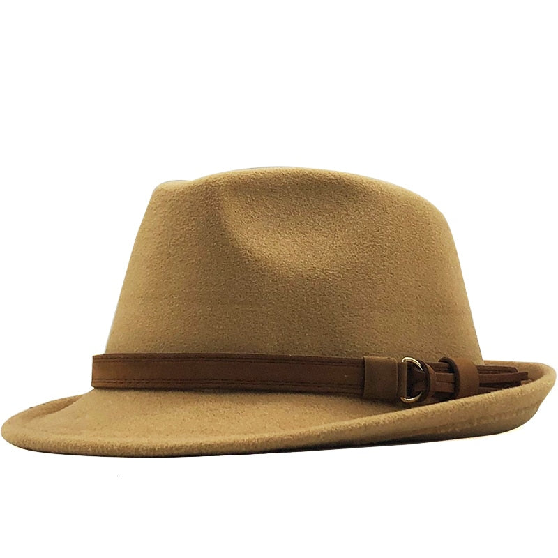 Trilby Hat with brown vintage leather strap