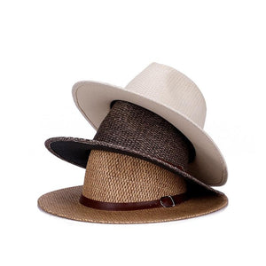 Panama Hat with brown leather strap