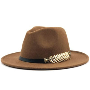Classic Fedora with metal feather