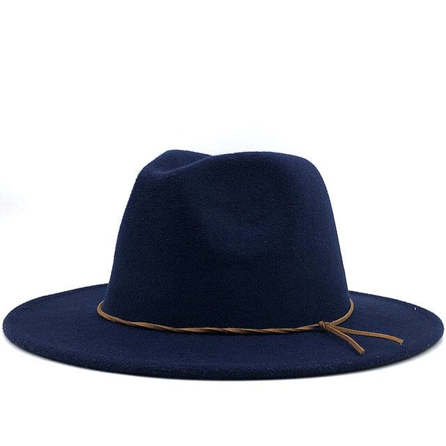 Fedora hat with knotted leather cord