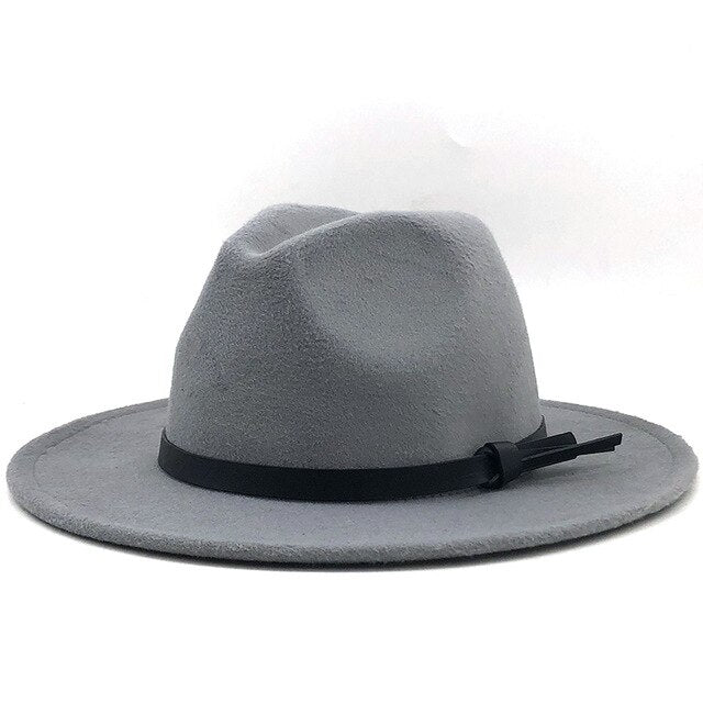 Wide Brim Fedora with black leather band