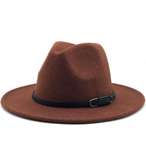 Wool Felt fedora with minimal leather strap