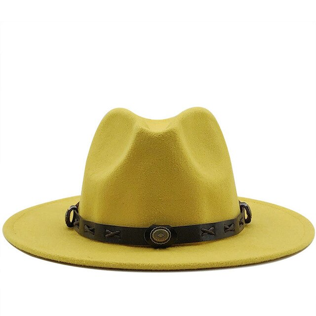 Classic Wool Fedora with Vintage leather belt