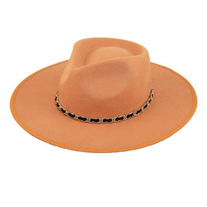 Australian wool oversized brim fedora with metal chain
