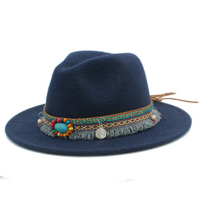 Fedora Hat With Tassel Bohemian Ribbon