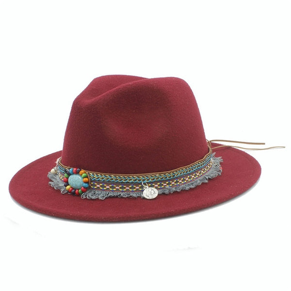 Fedora Hat With Tassel Bohemia Ribbon (12 colors)