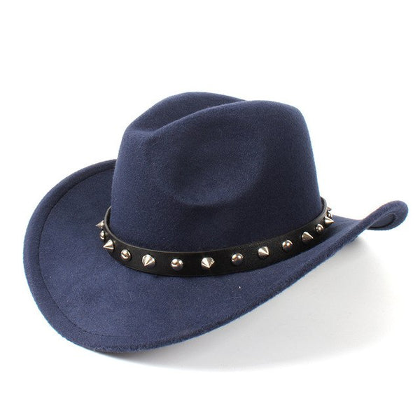 Western Cowboy Hat With Punk Rivet Belt