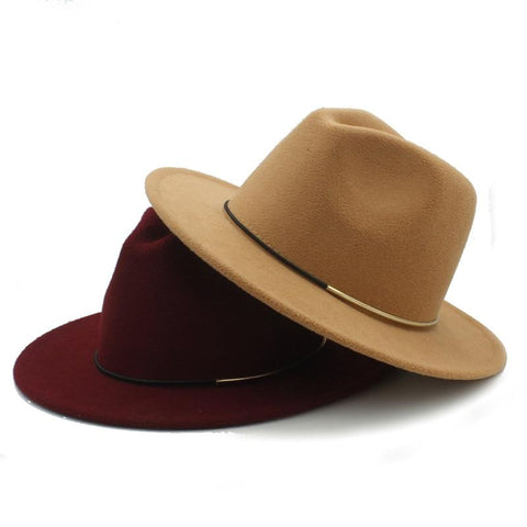 Fedora Hat with metal and leather cord (10 colors)