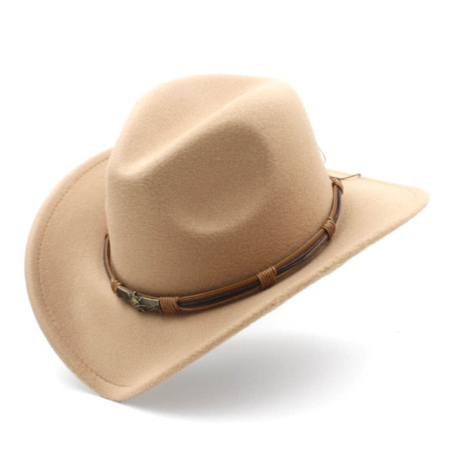 Cowboy Hat With Double vintage leather strap