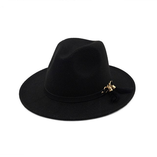 Fedora Hat with vintage black leather strap