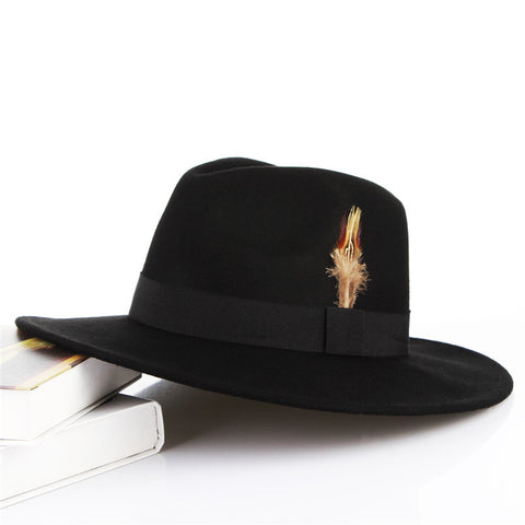 Black Vintage Wool Fedora with Feather