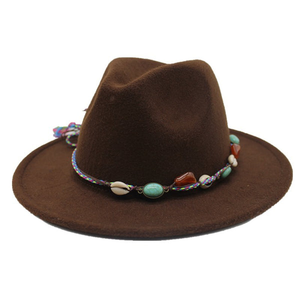 Fedora Hat with bohemian beaded cord (10 colors)