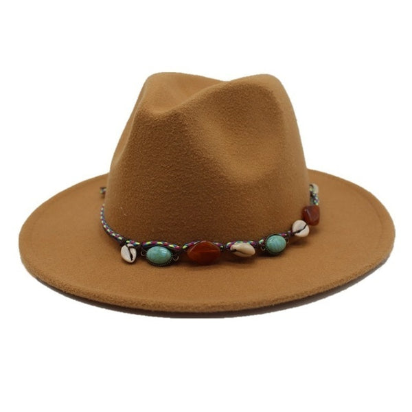 Fedora Hat with bohemian beaded cord
