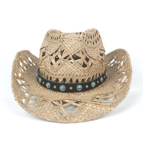 Natural Straw Bohemian Rodeo Hat with turquoise