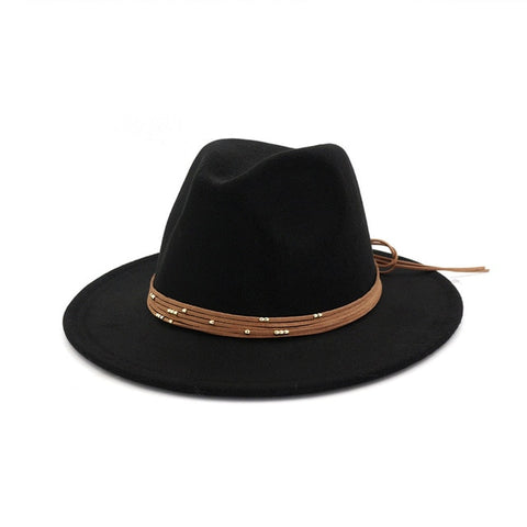 Flat Brim felt Fedora hat with Ribbon Band (12 colors)