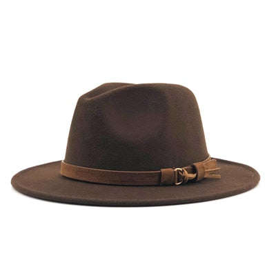 Wool Fedora Hat With Leather Ribbon