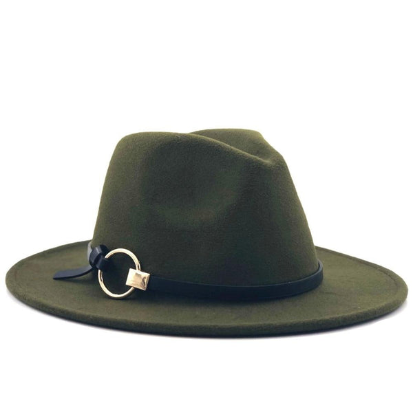 Fedora Hat with leather cord and metal ring (10 colors)