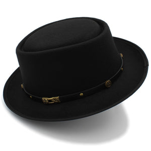 Pork Pie Hat with vintage lether strap