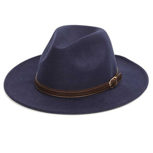 Felt Fedora with classic brown leather strap
