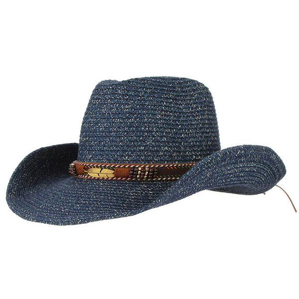 Western Sun Hat with fether and stones (3 colors)