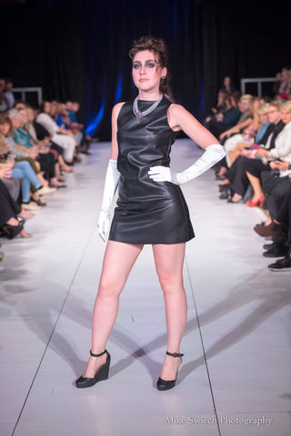 Forever popular, the black faux leather shift was well-received in Halifax, NS