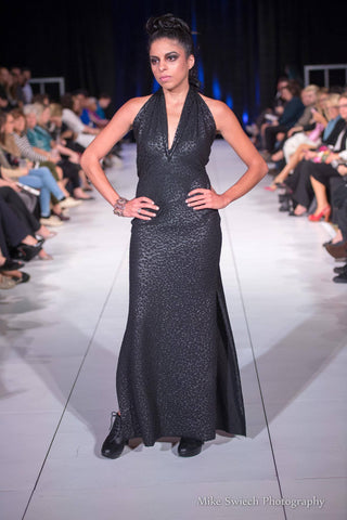One of a kind leopard patterned gown, seen on the runway in AFW's 11th annual fashion show.