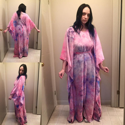 LeeAnn Dussault of East Coast Couture wearing New Brunswick designer flowy silk caftan