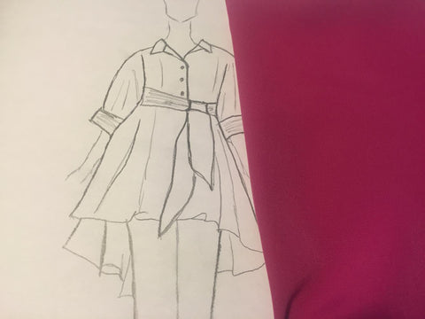 One of the sketches that LeeAnn Dussault uses when coming up with her designs. These sketches are then sent to our seamstress for pattern development and sample-making.