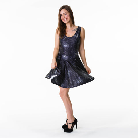 Cindy Therrien models the starry night skater dress for East Coast Couture's Spring 2018 release