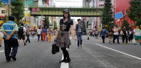 LeeAnn Dussault of East Coast Couture poses for a photo in Akihabara, Tokyo, Japan