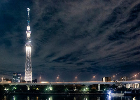 East Coast Couture spent a month in Tokyo, hunting for fabric and studying the cultural styles of Japan. Here is a shot of the Tokyo Skytree taken from a park in Asakusa at night.