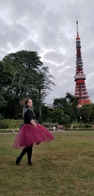 LeeAnn Dussault modelling in front of Tokyo Tower