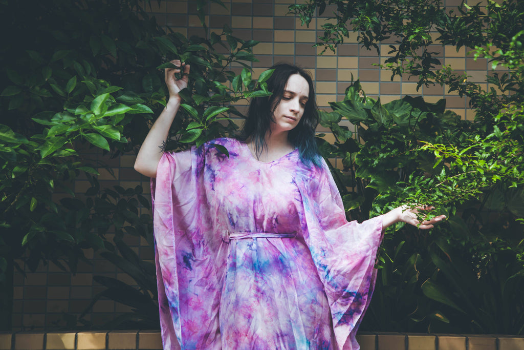 LeeAnn Dussault of East Coast Couture wearing New Brunswick designer flowy silk caftan in Asakusa near Sensoji temple