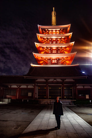 East Coast Couture spent a month in Tokyo, hunting for fabric and studying the cultural styles of Japan. Here is LeeAnn Dussault in front of the Sensoji Temple in Asakusa at night.