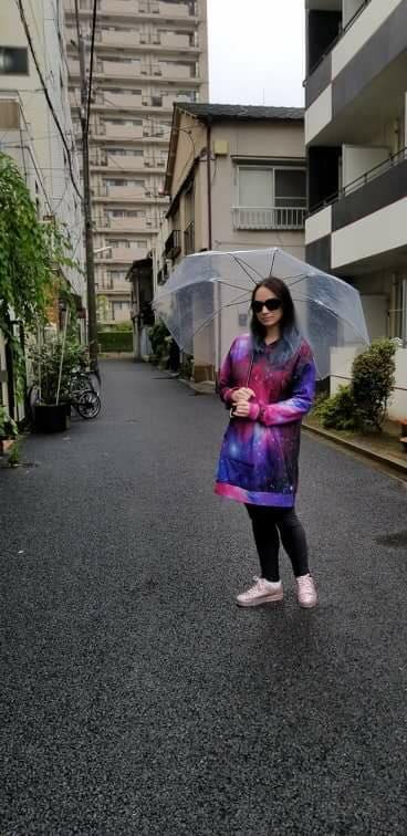 LeeAnn Dussault in Japan in Nippori Textile town in the rain.