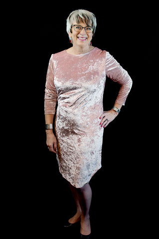 Hon. Cathy Rogers, Minister of Finance, New Brunswick, Canada, is seen here wearing East Coast Couture's Crushed Velvet Pink Tee Dress.